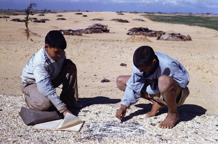 فتيان يقومون بواجباتهم المدرسية في رفح 1960