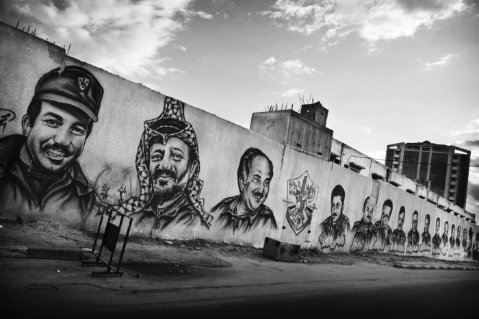 رموز حركة فتح على جدار سجن السرايا المركزي وسط غزة 2009